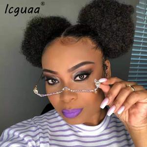 Mode Rouge Vert Lunettes Gem Gem en alliage cadre Lensless chaîne Pendentif demi-monture de lunettes diamant