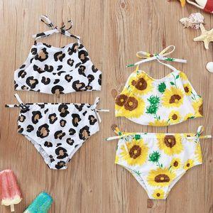 Toddler Girl Swimsuit Sunflower Girls Tops Short Pants 2pcs Set Leopard Suspender Children Swimwear Summer Baby Swim Clothes 2 Designs D5393