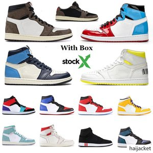 With Box Stock X High Travis Scotts Low Fearless Obsidian 1 Mens Basketball Shoes Top 3 UNC Turbo Green Air 1s Trainers Sneakers Size 13