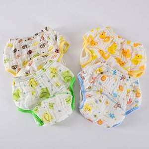 1pc lot Baby Wash Gauze Leakage Cloth Diaper Baby Cartoon Printing Learning Pants Infant Printing