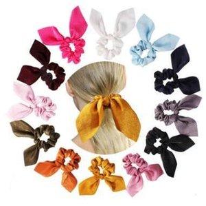 Pasqua orecchie di coniglio dei capelli della fascia Scrunchie Ribbon Bow sciarpa elastica Heandbands gomma Funi Solid HairBand Bambina Accessori Capelli 15Colors D38