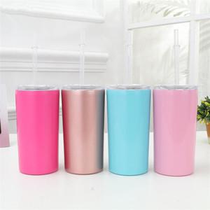 Acero inoxidable 304 pequeña taza recta al aire libre 12 oz taza de aislamiento de café con tapa doble pared taza aislada al vacío T9I0083