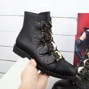 Hot Sale-Designer Sheepskin Rivet Buckle Boots Flat heel Ankle Short Martin Boots Female Military Boot