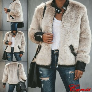 Inverno Plush costura jaqueta de couro Plus Size Brasão Womens inverno Teddy Bear velo pele macia ZIipper Jackets Jumper Outwear