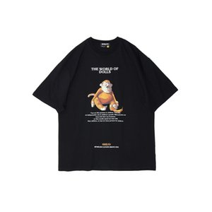 Estate progettista del Mens magliette di modo Scimmia Bambole stampato nero bianco manica corta in cotone Top Streetwear Grandi dimensioni T61