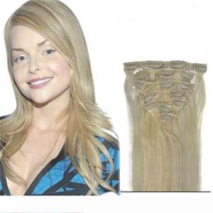 확장 레미 전체 표피 머리에서 16 ~ 22 인치 금발 스트레이트 헤어 클립 인 더블 씨실 인간의 머리 클립