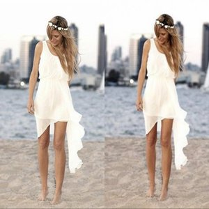 2020 Дешевые Асимметричные Короткие Пляжные Свадебные Платья Совок Шеи Без Рукавов Лето Простые Вечерние Платья Невесты