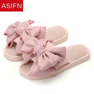 ASIFN Home Flax Slides Women Bathroom Slippers Cute Bow Non Slip Indoor Mules Summer Flip Flops Zapatos De Mujer Outdoor Shoes
