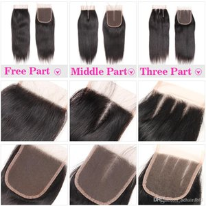 100% Human Hair 4X4 Lace Closure with Baby Hair Brazilian Straight Hair Body Wave Top Lace Closure Free Middle Three Part Peruvian Malaysian