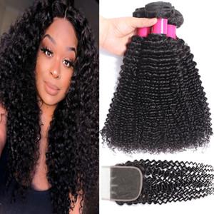 9A Virgin Bundles cheveux brésiliens avec Closures 4X4 Dentelle Fermeture vague profonde KinkyCurly lâche eau Yaki droite déchaîne corps cheveux raides