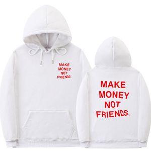 Designer Mens Hoodies MAKE MONEY NOT FRIENDS Homme Hooded Sweatshirts Casual Long Sleeve Loose Male Hoodies