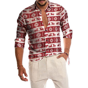 Christmas Mens Autumn And Winter Shirts Casual Long Sleeve Beach Tops Loose Casual Christmas Men Shirts Blouse 4O18