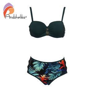 Andzhelika Yeşil Baskı Bikini Set Kadınlar Bandaj Örgü Orta belli Bikini İki Adet Mayo 2019 Plaj Mayolar Mayolar Y19052002