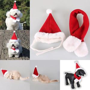 2019 New Pet del gatto del cucciolo del cane il cappello della Santa Sciarpa Set di Natale di festa di natale 2 pezzi Outfits capi di Stati Uniti Stock