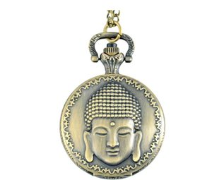 Buddhism Theme Full Hunter Quartz Engraved Fob Retro Pendant Pocket Watch Chain Gift Fire Fighter Theme