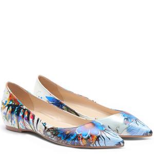 YECHNE Женская обувь на платформе граффити узор острым носом квартиры мода весна осень мелкая белая платформа балетки