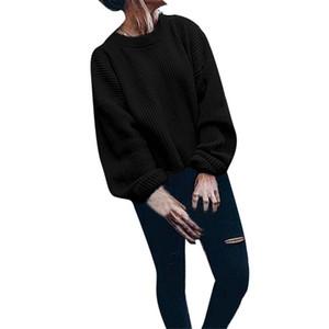 Cashmere Sweater Mulheres Oversize Tops For Women Inverno Quente E Autumn manga comprida O-pescoço sólido Lanterna Cor