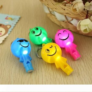 Cute Smile Face Whistle Lamp Key Ring Plastic LED Keychain Light Wholesale Promotion Gifts Giveaway W9284