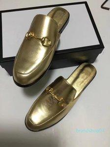 Мужские женщины все золото кожаные тапочки мулы дизайнер мул тапочки мокасины luxuy повседневная обувь золотые мулы большой размер EUR34-46