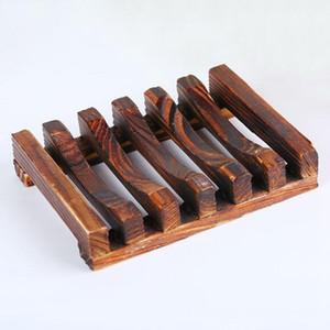 Platos de jabón de bambú de madera de madera bandeja del jabón de almacenamiento de titular portaplatos envase de la caja del jabón de baño titular