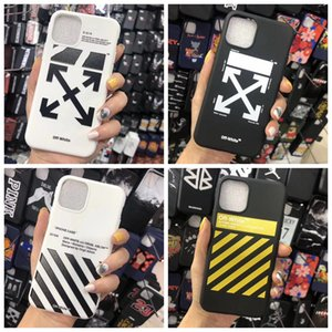 Off Stripes Graffiti Phone Case pour iPhone 11 Pro max x xs max xr 7 8 Plus Shell Noir Cover Designer Blanc Shell TPU arrière Flèche A01