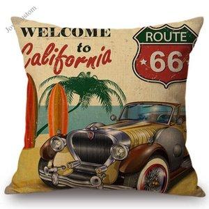 """18 """"미국 국도 66 빈티지 자동차 향수 레트로 포스터 스타일 장식 던져 베개 케이스 코튼 린넨 소파 쿠션 커버 홈 장식"""