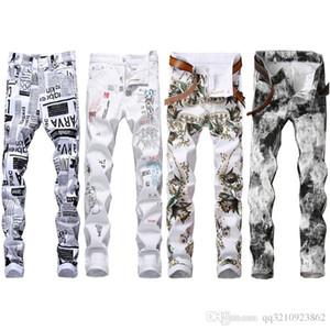 Mens Designer Jeans Crayon Lettre Imprimé White Denim Pantalons Fashion Club Vêtements pour Homme Livraison gratuite Hip Hop Skinny Jeans