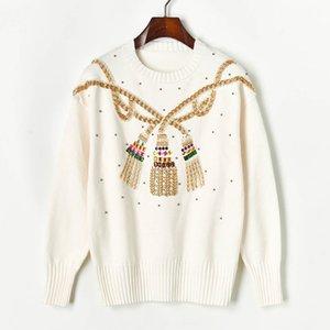 N14 2019 Осень Белый / Черный Colorblock Вязаная Лоскутная пуловеры свитер с длинным рукавом Экипаж шеи Мода Свитера X1910PUY91022