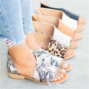 Rome style loisirs chaussures dames grand code imprimé léopard poisson bouche sandales printemps et en été mode épaississement pantoufle