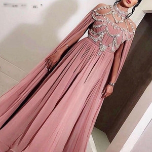 Arabe en mousseline de soie longue soirée Robes Femmes Celebrity Dubai Caftan cristal Zipper col montant Prom Party officiel Robes