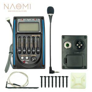 NAOMI 5-полосный эквалайзер для акустической гитары PQ Prener-PM 5-полосный эквалайзер Эквалайзер Эквалайзер ЖК-дисплей с микрофоном