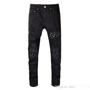 Classic miri Ripped Holes Design Jeans Black Casual Long Pants Spring HIp Hop Rap Street Trousers Pencil Pants