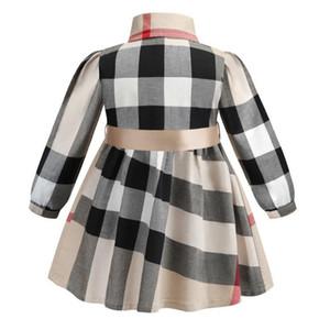 vestidos de las muchachas del otoño vestido europeo y niños estadounidenses largo de la manga Manga arco clásico de la tela escocesa del algodón del vestido del bebé del vestido Cardigan