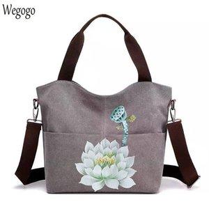 2020 여성의 손으로 그린 핸드백 대용량 캔버스 어깨 가방 여성 캐주얼 꽃은 여행 가방 Bolso Mujer 회화