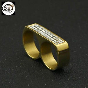 New Fashion Stainless Steel Gold Plated Diamond Mens 2 Finger Ring Band Hip Hop Night Club Rock Punk Rapper Jewelry Gifts for Guys Wholesale