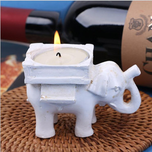 Candle Holder Resin Retro Lucky Elephant Tea Light Durable Candle Holder Ivory Ceramic Bridal Wedding Home Party Decoration Free Shipping