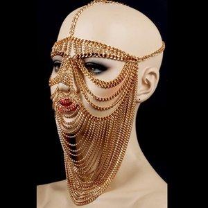 African Tribal Mask nappa Egitto regina Cosplay Accessori Nightclub Bar Female Singer Stage Performance metallo Mask DWY2633