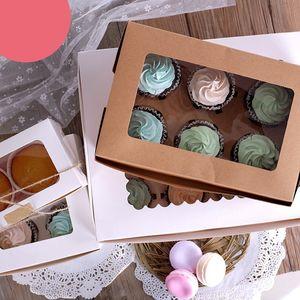 10PCS 2 4 6 Holes Kraft Paper Cupcake Packing Box Muffin Wedding Party Case Holder Box PAK55