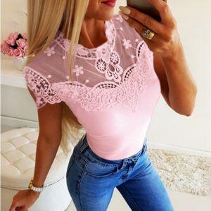 Korean Sexy Lace Patchwork Blouse Women Summer Harajuku Short Sleeve Mesh Shirt Slim Fit Cute Tops Tee Shirt O-Neck Femme Blusa