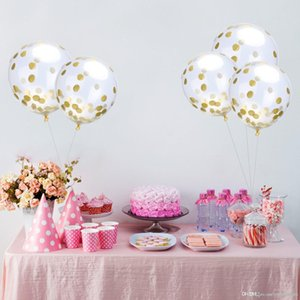 12-inch transparent gold sequins confetti balloon 2018 New Year's Party balloons wedding room decoration balloon wholesale