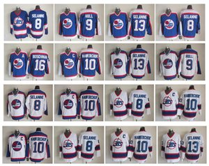 Старинные Winnipeg Jets Jersey 13 Teemu Selanne 10 Dale Haverchuk 9 Bobby Hull 8 Teemu Selanne 16 Laurie Boschman Белый синий CCM ретро хоккей