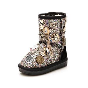 niñas botas de nieve princesa botas de algodón hebilla de metal taladro de mano en el tubo más terciopelo más algodón pelusa botas calientes