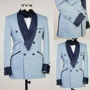 Мода Brand New Groom Tuxedos Light Blue Navy шаль лацкане Groomsmen Mens Свадебное платье Стиль Человек куртка Blazer 2 шт