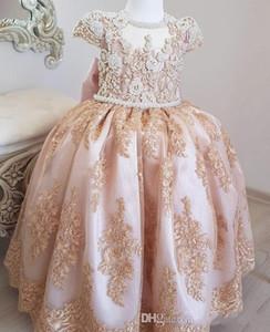 Princesa Pérolas Rendas 2019 Flor Menina Vestidos de Mangas Curtas Menina Convidado Do Casamento Vestidos de Vestidos de Festa Do Vintage Pageant