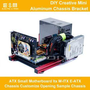 Freeshipping PC Açık Çerçeve Test Tezgahı Bilgisayar Overlok Hava Durumda Mini Alüminyum Braketi M ATX ITX E-ATX HTPC Anakart DIY için Mod