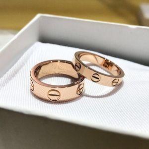 Acciaio inox al titanio di amore Anelli di moda per le donne gli uomini di lusso Coppie monili romantici Cubic Zirconia di nozze anelli di barretta Femme