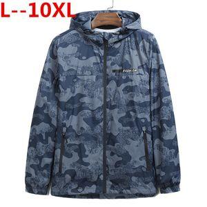 plus 10XL 9XL 8XL 6XL 5XL 4XL Floral Jacket Autumn Mens Hooded Jackets Loose Fit Long Sleeve Homme Trendy Windbreaker Coat