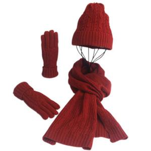 Hiver femme Wooly épais Bonnet Écharpe Gants Set doux et chaud tricotées Set JL Woollen