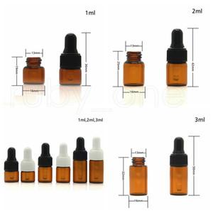1000pc 1ml 2ml 3ml Amber Cam Damlalık Şişeler Esansiyel Yağ şişesi Küçük Parfüm Şişeleri Örnekleme Depolama Şişe Araçları RRA1981