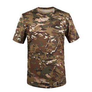 Men Tactical Combat Shirt Camouflage Short Sleeve Round Neck Summer Breathable Quick-Drying Camo Ourdoor Sport Casual T Shirt